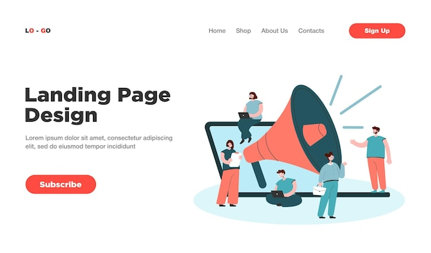 Cartoon tiny managers with giant loudspeaker and laptop landing page. landing page