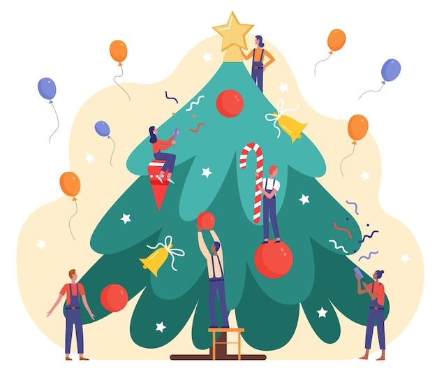 大晦日を祝うためにクリスマスのモミの木を飾る漫画の小さな人々