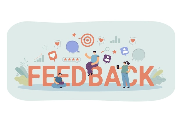 Cartoon tiny people getting or giving feedback online. flat illustration.