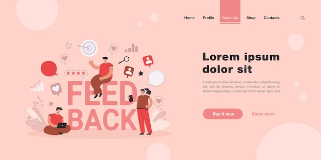 Cartoon tiny people getting or giving feedback online landing page in flat style