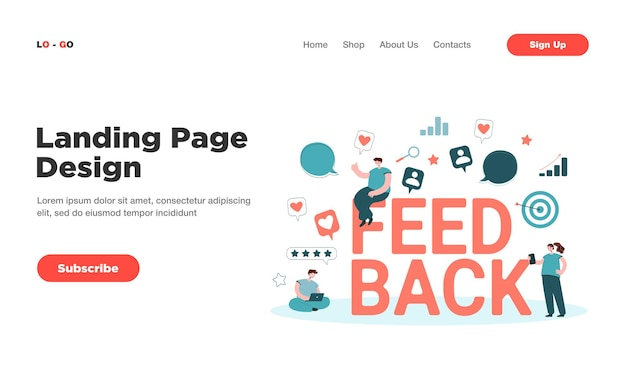 Cartoon tiny people getting or giving feedback online landing page. landing page