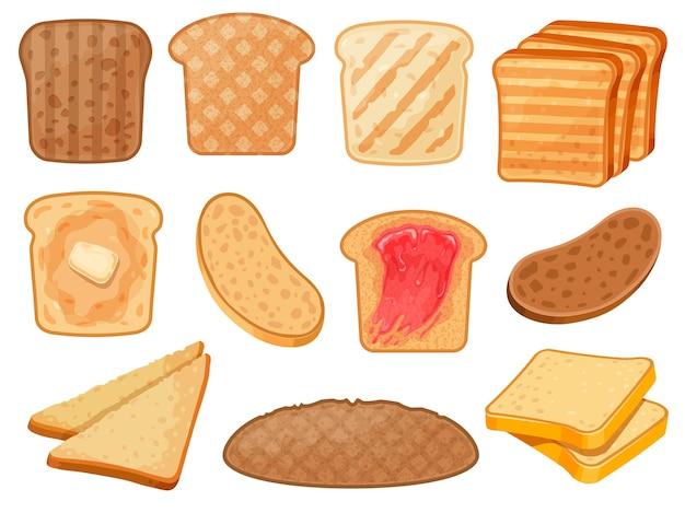 Мультяшные тосты. свежие поджаренные ломтики цельнозернового и пшеничного хлеба с маслом и джемом на завтрак. набор векторных жареный сэндвич тосты. завтрак тост с джемом, пшеничный хлеб с маслом иллюстрации