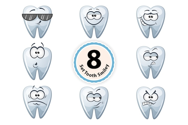 Cartoon tooth smiley satisfaction, self-confidence, surpride, grin, oh, suspiction, glasses, anger.