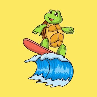Cartoon tortoise surfing on yellow