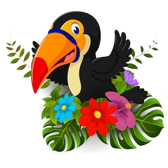 Cartoon toucan with tropical flower