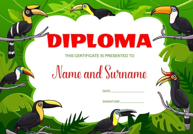 Cartoon toucans in jungle kids diploma. education school or kindergarten certificate vector template with exotic tropical birds sitting on palm tree branches. graduation or winner award frame design