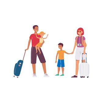 Мультяшная туристическая семья с дорожными сумками и камерой, стоящая на белом фоне, счастливые родители с детьми на летних каникулах - иллюстрация