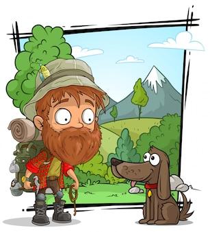 Cartoon tourist traveler character with cute dog