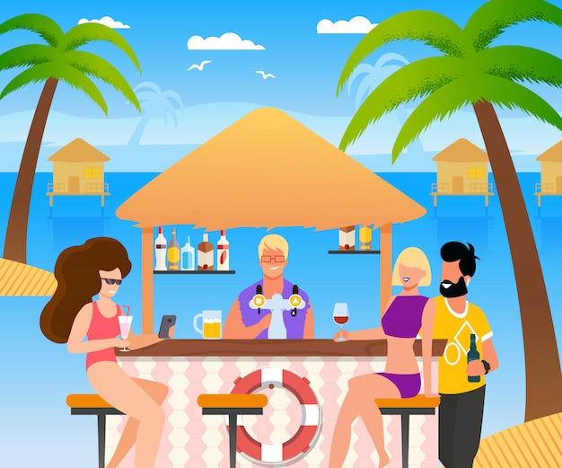 Cartoon tourists group resting at beach bar.