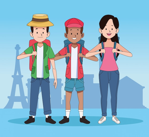Cartoon tourists and world travel design