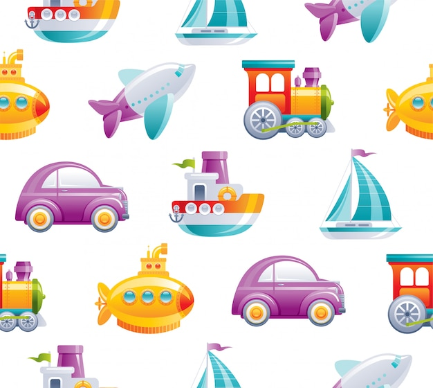 Cartoon toy transport seamless pattern. cute 3d boy style. boat, car, airplane, yellow submarine, sail ship, train, rocket wallpaper design.