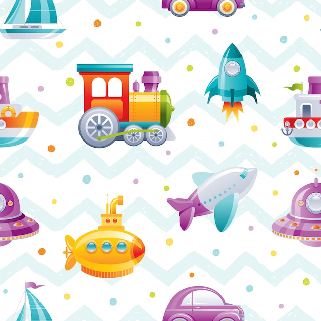 Cartoon toy transport seamless pattern. cute boy boat, car, airplane, submarine, sail ship, train, rocket, wallpaper design.