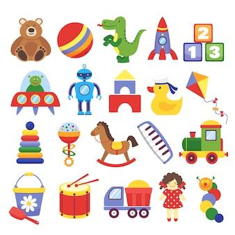 Мультяшные игрушки. игра игрушечного плюшевого мишки-динозавра, ракета, детские кубики, змей, робот детские куклы вектор