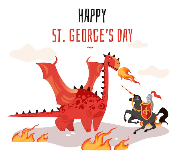 Cartoon tradition happy saint george s green card with dragon and medieval tale legend knight