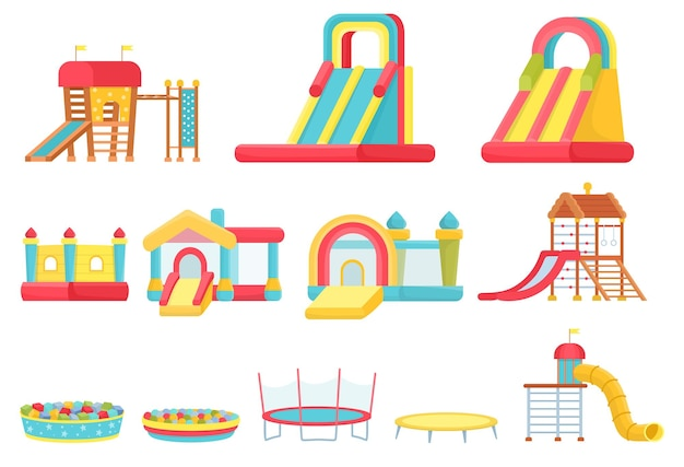 Cartoon trampolines. children play room elements, inflatable castles and slides, game house and soft ball pool. indoor playground vector set