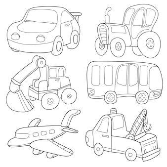Cartoon transport. coloring book. a set of cute collection isolated on white background