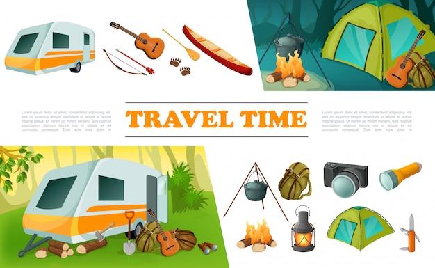 Insieme di elementi di campeggio di viaggio del fumetto con il rimorchio del campeggiatore chitarra arco freccia freccia canoa zaino fotocamera torcia falò coltello tenda lanterna