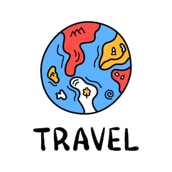 Cartoon travel earth or planet doodle lettering for decoration design. drawing text