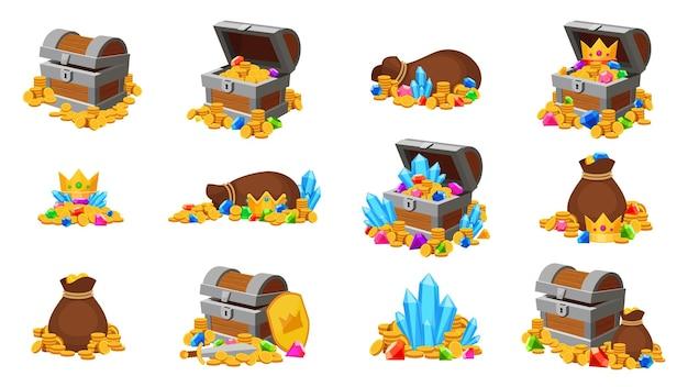 Мультипликационное сокровище. игровые иконки открытых сундуков и сумок с золотыми монетами, драгоценными камнями, коронами и кристаллами. средневековые деньги, пиратский набор векторных сокровищ. иллюстрация пиратское сокровище, сундук с золотыми монетами