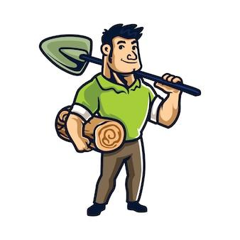 漫画の木の切断と運搬の男