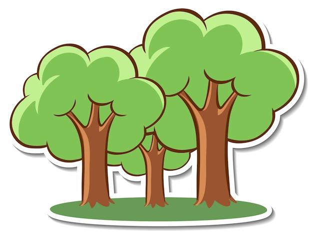 白い背景の上の漫画の木のステッカー