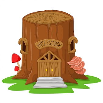 Premium Vector Cartoon Tree Stump Fairy House Download this free vector about tree stump, and discover more than 10 million professional graphic resources on freepik. cartoon tree stump fairy house