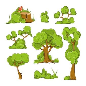 만화 나무와 관목 벡터 세트. 식물 나무, 부시 및 녹색 나무, 숲 나무 그림