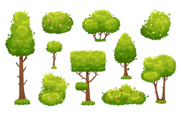 Cartoon trees and bushes