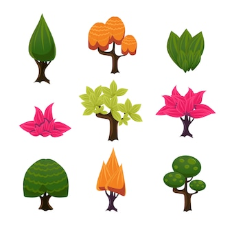 Cartoon trees, leaves and bushes set