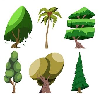 さまざまな品種の漫画木セット:ヤシ、オーク、木など。分離したベクトル図