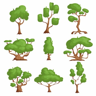 Cartoon trees set. different types plants in comic style.