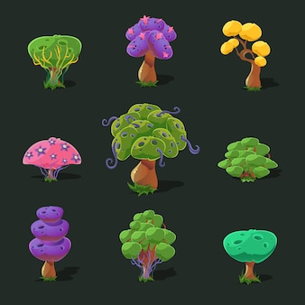 Cartoon trees, set