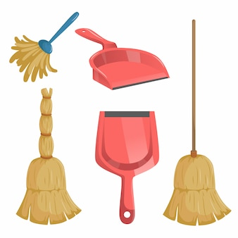 Cartoon trendy cleaning service set. natural broom and different dustpans, feather duster.