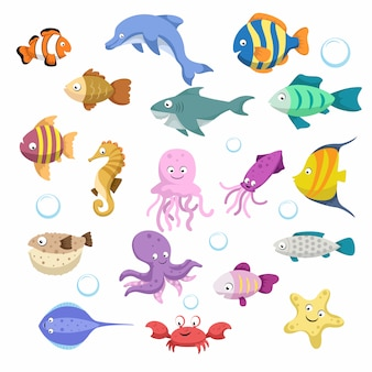 漫画のトレンディなカラフルなサンゴ動物の大きなセット。魚、哺乳類、甲殻類。イルカとサメ、タコ、カニ、ヒトデ、クラゲ。熱帯のサンゴ礁の野生生物。