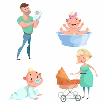 Cartoon trendy design mother and babies set. washing girl in basin and crawl baby, father holding newborn, mother with stroller.