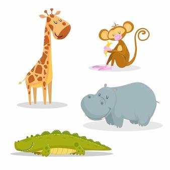 최신 유행 스타일 아프리카 동물 세트 만화. 기린, 바나나, 악어, 하마와 원숭이 앉아. 닫힌 눈과 쾌활한 마스코트. 야생 동물 일러스트 벡터.