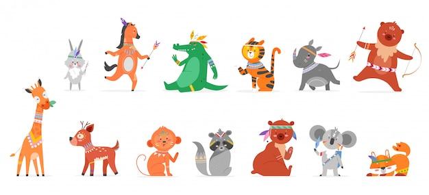 漫画部族動物フラットイラストセット。分離されたサルうさぎサイテディベアキリンシカアライグマフォックスのかわいい野生の森の部族と面白い動物的な自由奔放に生きる野生動物コレクション