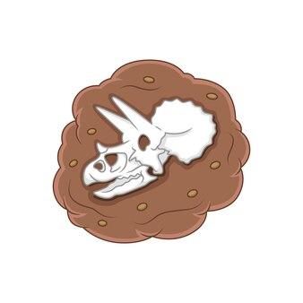 만화 트리케라톱스 머리 화석