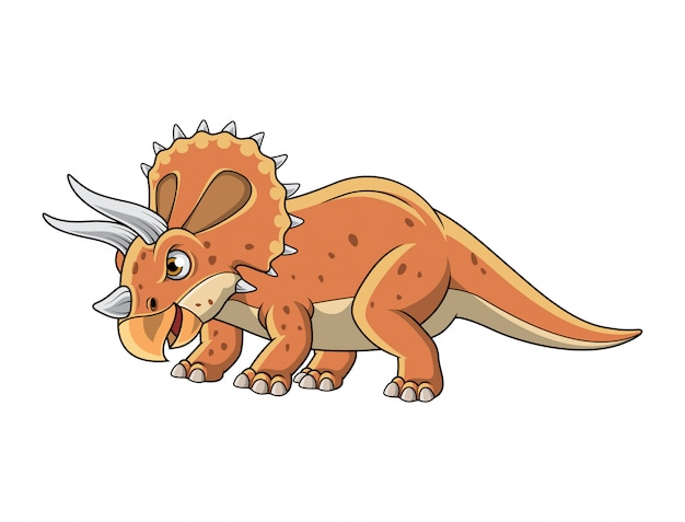 Cartoon triceratops posing isolated on white background