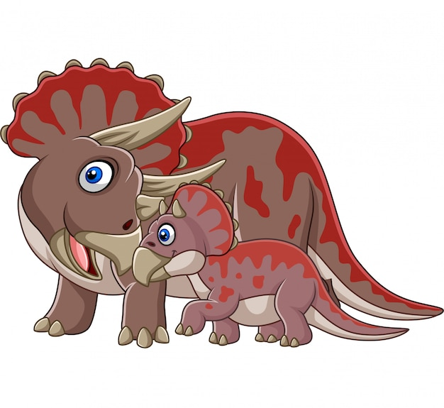 Cartoon triceratops with her baby