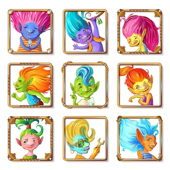 Cartoon troll characters avatars set