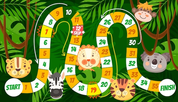 Cartoon tropical animals kids board game or maze. start to finish dice boardgame, roll and move puzzle or riddle on jungle forest background with lion, tiger and monkey, zebra, jaguar and koala