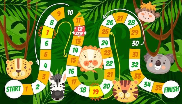 漫画の熱帯動物の子供たちのボードゲームや迷路。サイコロのボードゲームを終了し、ライオン、トラ、サル、シマウマ、ジャガー、コアラと一緒にジャングルの森の背景でパズルやなぞなぞをロールアンドムーブします。