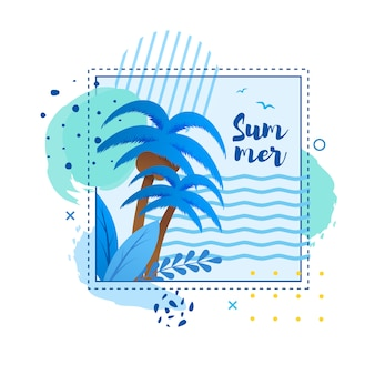 Cartoon tropical card with palms  and h andwritten word summer in frame
