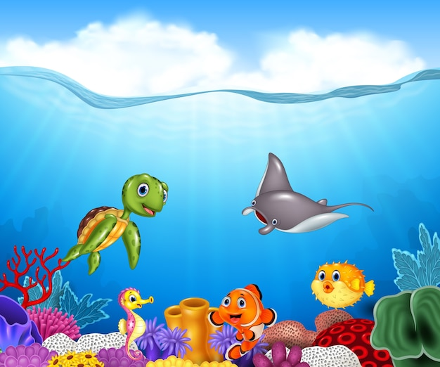 Cartoon tropical fish with beautiful underwater world