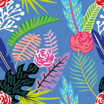 Cartoon tropical flowers and leaves seamless pattern wallpaper