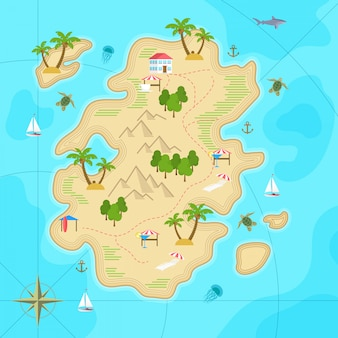 Cartoon tropical island in ocean