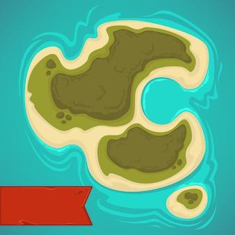 Мультяшный тропический остров вид сверху для вашей игровой карты