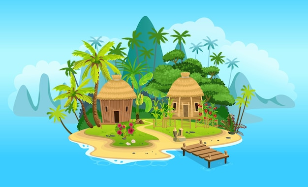 Cartoon tropical island with huts, palm trees. mountains, blue ocean, flowers and vines. vector illustration