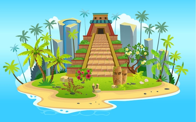 Cartoon tropical island with mayan pyramid, palm trees. mountains, blue ocean, flowers and vines.